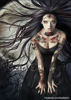 Vampire Bride by Xiao Bai Art Dark Fantasy Art, Fantasy Kunst, Fantasy World, Vampire Bride, Vampire Art, Dark Beauty, Gothic Beauty, Drawn Art, Vampires And Werewolves
