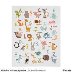 Alphabet Wall Decals, Alphabet Art, Animal Alphabet, Kids Room Wall Art, Nursery Wall Art, Nursery Decor, Nursery Ideas, Abc Poster, Animal Posters