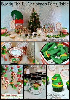 Buddy The Elf Christmas Party Table - Lady Behind The Curtain. Create your own Elf-inspired Christmas party theme!