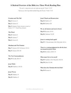 A PDF version of the Bible Reading Plan for you to view and print. ♥