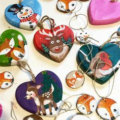 My desk is filled with little paint projects! #happy #christmas #painting #art #gifts #ornaments #xmas #fox #deer