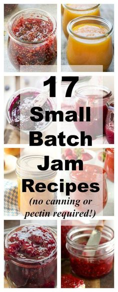 17 Small-Batch Jam Recipes That Don't Require Canning or Pectin 17 Small Batch Jam Recipes Collage Canning Tips, Canning Recipes, Freezer Jam Recipes, Canning Labels, Freezer Meals, Chutneys, How To Make Jam, Food To Make, Jelly Recipes