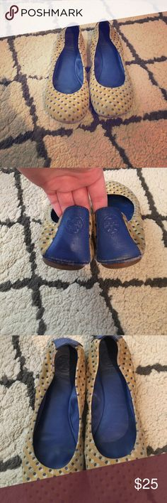 💛💙Tory Burch blue and gold Lola dot flats! 💛💙 Well worn Tory Burch flats! Shows wear on toes and heels but seriously not noticeable when worn. Lots of life left in them and they are so comfortable! Tory Burch Shoes Flats & Loafers