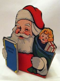 Antique DIE CUT Christmas Ornament SANTA CANDY CONTAINER 1940's