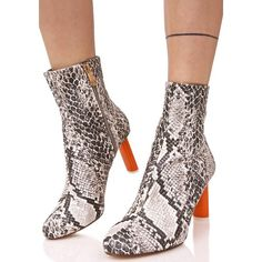 Grey Snakeskin Contrast Ankle Boots ($48) ❤ liked on Polyvore featuring shoes, boots, ankle booties, gray booties, gray bootie, gray short boots, bootie boots and snake print booties