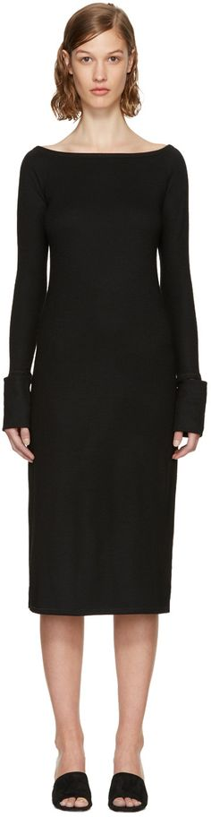 HELMUT LANG Black Boat Neck Dress. #helmutlang #cloth #dress