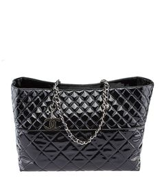 Chanel A49270 Matelasse Black Patent Leather Tote