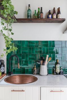 boho kitchen decorating ideas // green kitchen backsplash Kitchen Zellige Is the Tile Trend Taking 2019 By Storm Copper Kitchen, New Kitchen, Awesome Kitchen, Kitchen Sink, Kitchen Cupboard, Kitchen Island, Rustic Kitchen, Tiles For Kitchen, Country Kitchen