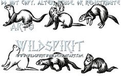 Six Ferret Tattoo Set by WildSpiritWolf
