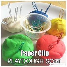 Paper Clip-Playdough Sort {After nap activity!} #toddleractivities #toddleractivity #toddlercolors #coloractivity #learningcolors #colorsorting #earlyeducation #earlylearning