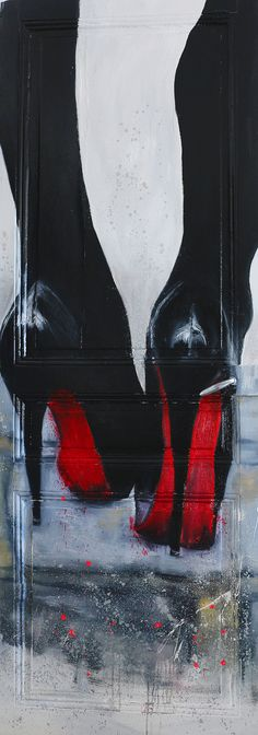 19-9x: henry-hang4: Louboutin oil on wood and spray paint on the door /face A by Henry Hang Paris 199x