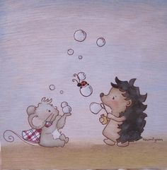Picli the hedgehog wall art Bubbles by toumignon on Etsy