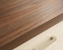 Howdens Joinery Square Edged American Pecan Square Edged Worktop, Breakfast Bar and Upstand Howdens Kitchens, Kitchen Worktops, Kitchen Tops, New Kitchen, Square Edge Worktop, Cream Kitchens, Shaker Style Cabinets, Kitchen Models, Kitchen Collection