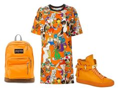 """""""ORANGE!!!!!!!!!"""" by fashion-life21 ❤ liked on Polyvore featuring Moschino, BUSCEMI and JanSport"""