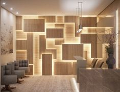 Commercial Reception Highlighted illuminated panel design by Camila Pimenta.