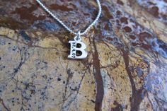 Initial Letter Necklace Sterling Silver With Birth by timbrodamore, $36.00