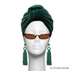 Handcrafted lined CL Emerald green Strech Suede Stella Turban. Turbans, Emerald Green, Cl, Headbands, Drop Earrings, Stylish, Hats, Jewelry, Fashion
