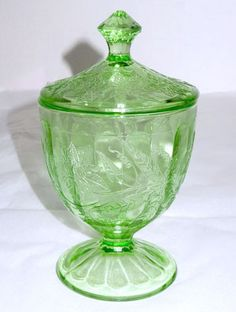 """Depression Glass - Jeannette - Floral / Poinsettia - Green Covered Candy Jar 6 1/2"""""""
