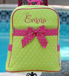 Girls small personalized quilted backpack by GigglesandLollipops