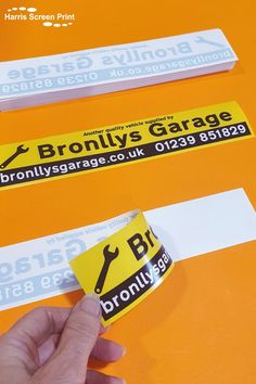 Car window stickers printed for Bronllys Garage in Newcastle, UK. The window sticker design is printed black, yellow and white and clearly promotes the garage website and telephone number. This car dealership window sticker design stands out really well in car windows, promoting the garage whenever the car is on the move! Car Window Stickers, Car Bumper Stickers, Rear Window, Sticker Design, Screen Printing, Garage, Telephone Number, Newcastle, Prints