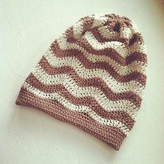 Slouchy Chevron Beanie pattern -- Instructions included create a finished item in an Adult Small size.