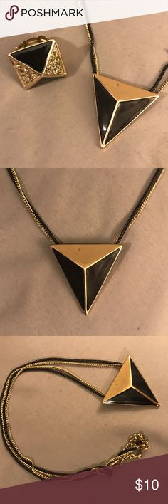 Black & Gold Jewelry Set // H&M // Black & Gold Triangular Necklace & Matching Ring // Necklace Has 2 Chains (1 Gold, 1 Black) and Fastening Closure // Ring Has Elastic To Accommodate Larger Fingers // Great for a Business Outfit or Edgy Formal Attire // Necklace Has a Small Imperfection (See Photos Above) // H&M Jewelry Necklaces