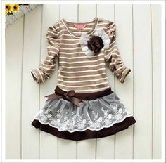 Wholesale 2012 Autumn girls stripe princess dress child dress kids dresses Baby dresses children Clothing Wear