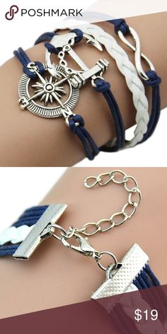 Nautical/Infinity Leather bracelet Super fashionable Leather, Nautical/Infinity bracelet. Silver plated. Lady Joy's Boutique Jewelry Bracelets
