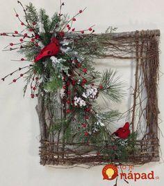 Square Twig Wreath Cardinal Wreath Winter by CrookedTreeCreation (door crafts bathroom) Christmas Frames, Noel Christmas, Rustic Christmas, Christmas Ornaments, Christmas Swags, Cheap Christmas, Elegant Christmas, Outdoor Christmas, Door Crafts