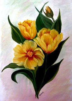 Yellow Tulips Print Greeting Card by KarenUnderwoodArt on Etsy