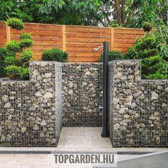gabion kerti zuhany Budapest, Firewood, Fence, Pergola, Outdoor Structures, Modern, Instagram, Gardens, Woodburning