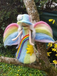 Needle felted fairy rainbow inspired Waldorf