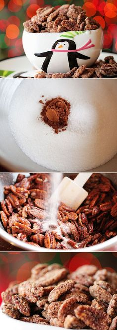 Cinnamon Sugar Roasted Pecans. Make these and your house will smell AMAZING for guests!! These are a must in our house at Christmas. Appetizer Recipes, Appetizers, Snack Recipes, Cooking Recipes, Dessert Recipes, Pecan Recipes, Candy Recipes, Holiday Recipes, Yummy Snacks