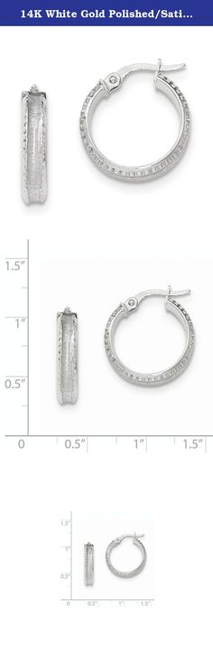 14K White Gold Polished/Satin Concave Ridged Edge Hoop Earrings. Attributes 14K White gold Hollow Hinged post Polished & satin Product Description Material: Primary - Purity:14K Finish:Polished Length of Item:20 mm Plating:Rhodium Material: Primary:Gold Thickness:4 mm Width of Item:20 mm Product Type:Jewelry Jewelry Type:Earrings Sold By Unit:Pair Texture:Tread Material: Primary - Color:White Earring Closure:Wire & Clutch Earring Type:Hoop.