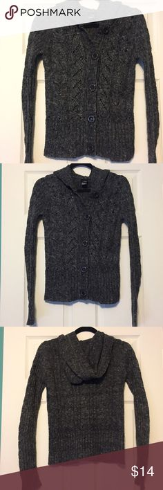 """Vanity Cardigan Medium knit cardigan from Vanity. Large buttons up the front with a hood. The sweater is pretty chunky. In good used condition. ❤ 58% Ramie 36% acrylic 6% polyester ❤ bust: 17.5"""" length: 21"""" Vanity Sweaters Cardigans"""