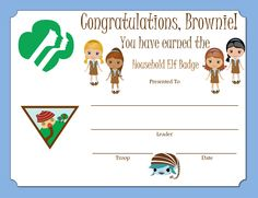 Brownie Household Elf Badge Certificate