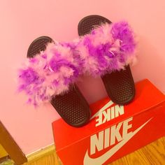Nike Fur Slides Brand New !!! Nike Shoes Slippers