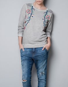 SWEATER EMBROIDERED AT THE SIDES - T-shirts - TRF - ZARA United States
