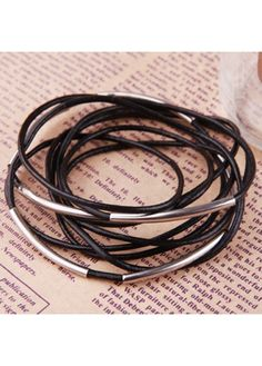 casual bracelets | Casual Multi-layered Faux Leather Match Metal Bracelet