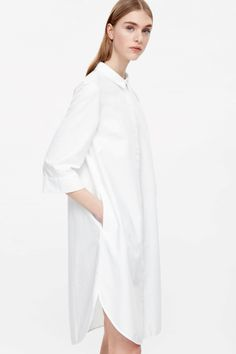 COS image 3 of Oxford cotton shirt dress in White