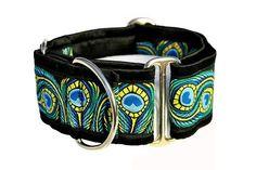 Martingale Collar: Peacock Jacquard (2 Inch), Greyhound Collar, Whippet Collar, Dog Collar, Custom Dog Collars. $25.95, via Etsy.