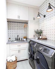 A cement tile backsplash brings pattern to the entire room. This is a happy space for laundry. Laundry Room Remodel, Basement Laundry, Laundry Rooms, Laundry Room Design, Kitchen Design, Cement Tile Backsplash, Wall Tile, Cement Tiles, Laundry Room Inspiration