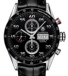 Tag Heuer Carrera - Elegant mechanical movement with chronograph complication is housed in a classic stainless steel watch with a three-eye dial displayed under scratch-resistant sapphire crystal. Tachymeter bezel and stylized day and date window add function to the handsome design finished in a stylish alligator leather strap.