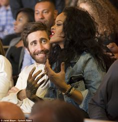 Giving it her all: Rihanna was very expressive as she sat next to the Hollywood actor...