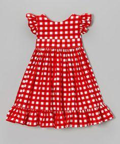 Red white gingham dress