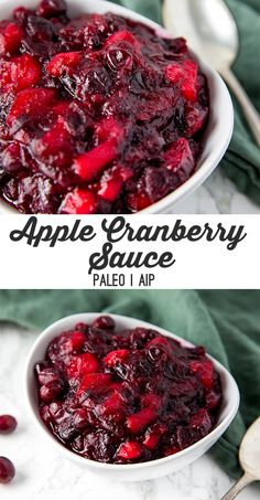 Apple Cranberry Sauce (Paleo, AIP) - Unbound Wellness This apple cranberry sauce is made with fresh ingredients and zero refined sugar! It's paleo, AIP, and everyone will love it at Thanksgiving. Low Carb Diets, Leaky Gut, Sauce Recipes, Paleo Recipes, Paleo Sauces, Cookie Recipes, Cranberry Sauce With Apples, Cranberry Recipes Healthy, Dressings