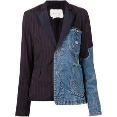 Greg Lauren patchwork distressed denim blazer (3,680 CAD) found on Polyvore featuring outerwear, jackets, blazers, blue, blue jackets, distressed denim jacket, blue blazer, greg lauren and patchwork jacket