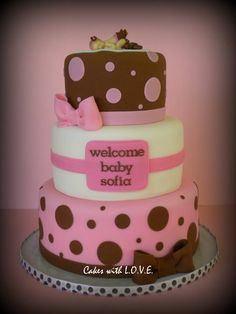 Pink And Brown Baby Shower Polka dots and a baby topper were asked for this cake, MOM to be LOVED it :) Cupcakes, Cupcake Cakes, Fondant Cakes, Gorgeous Cakes, Amazing Cakes, Sofia Cake, Giraffe Cakes, Shower Bebe, Girl Shower