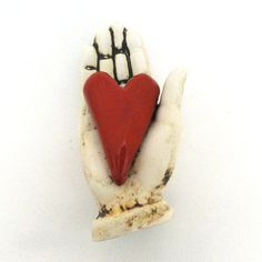 Love Ceramic Sculpture for the wall Heart in Hand by Mudgoddess
