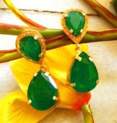 silver emerald earring, beautiful!